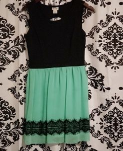 Sweet Storm Dresses - Mint green and black  lace  dress size large